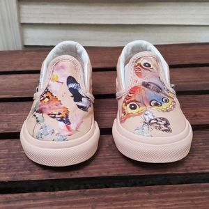 Toddler Girl Vans Slip-ons Pink Flowers Butterfly